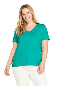 Women's Plus Size Relaxed Supima Cotton Short Sleeve V-Neck T-Shirt