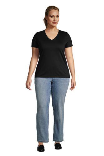 Women's Plus Size Petite Relaxed Supima Cotton Short Sleeve V-Neck T-Shirt