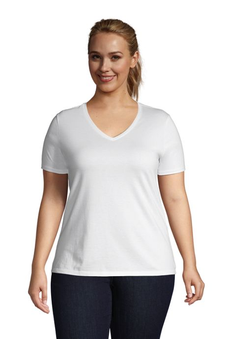 Women's Plus Size Petite Relaxed Supima Cotton Short Sleeve V-Neck T-Shirt