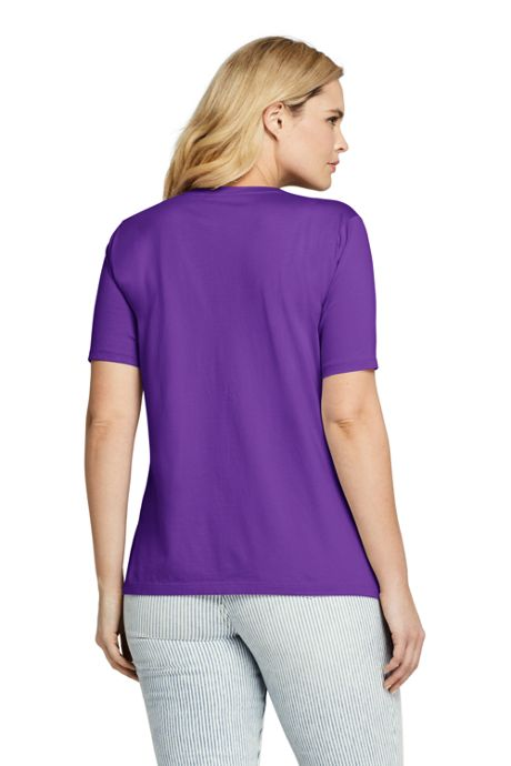 Women's Petite Plus Size Supima Cotton Short Sleeve T-shirt - Relaxed V-neck