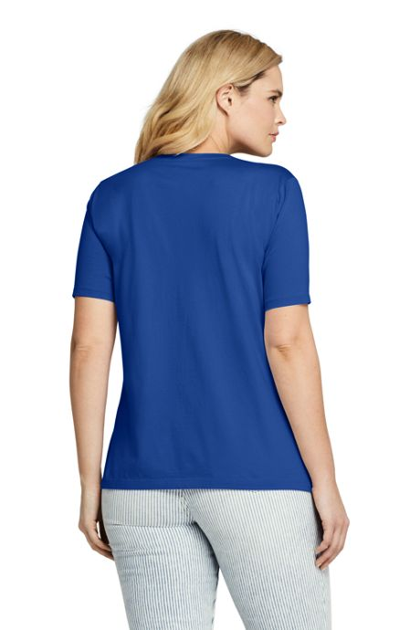 Women's Plus Size Supima Cotton Short Sleeve T-shirt - Relaxed V-neck