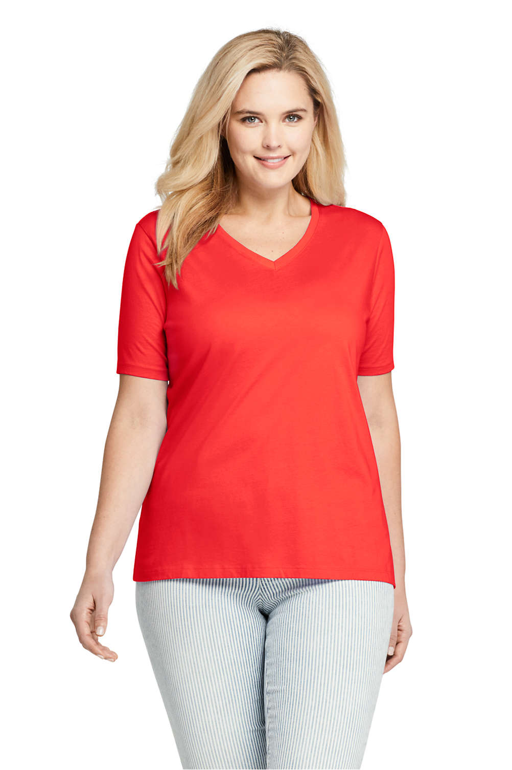 88220e4dae84 Women's Plus Size Relaxed Fit Supima Cotton V-neck Short Sleeve T-shirt