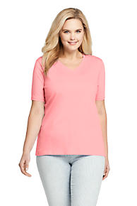 c4e5d45d980 Women s Plus Size Supima Cotton Short Sleeve T-shirt - Relaxed V-neck