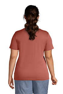 Women's Plus Size Relaxed Supima Cotton Short Sleeve V-Neck T-Shirt, Back