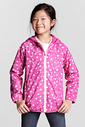 Girls' Navigator® Fleece-Lined Patterned Rain Jacket