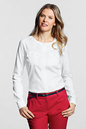 Women's Long Sleeve No Iron Pinpoint Jewelneck Shirt