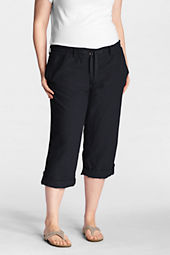 Women's Plus Size Fit 2 Linen Cotton Capri Pants