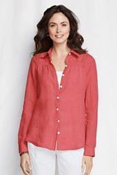 Women's Long Sleeve Linen Smocked Shirt