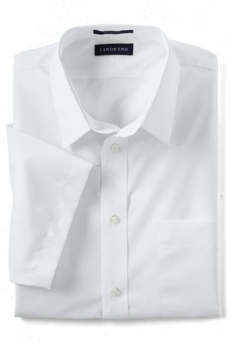 Men's Short Sleeve Straight Collar Broadcloth Shirt