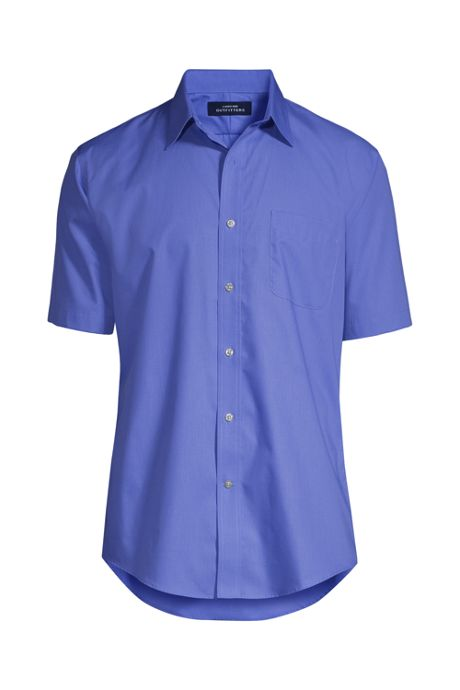 Men's Short Sleeve Straight Collar Solid Broadcloth Shirt