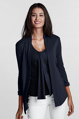 Women%27s+3%2F4-sleeve+Cotton+Modal+1x1+Drapeneck+Cardigan