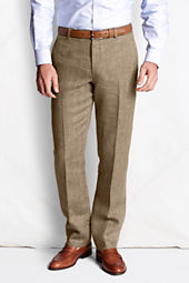Men's Plain Front Tailored Fit Pattern Linen Trousers
