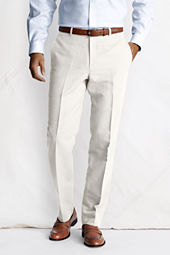 Men's Plain Front Tailored Fit Linen Cotton Trousers