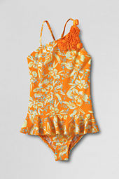 Girls' Flower Shoulder Skirted One Piece Swimsuit