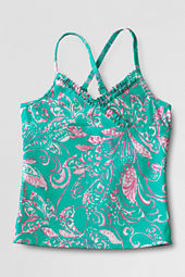 Girls' Shirred Ruffle V-neck Tankini Top