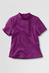 Girls' Short Sleeve Solid Mockneck Rash Guard