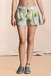 Canvas Women's Cotton Voile Tropical Orchid Floral Cover-up Shorts