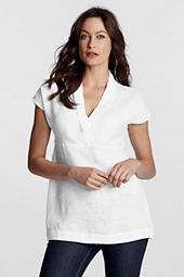 Women's Short Sleeve Linen Shawl Collar Tunic