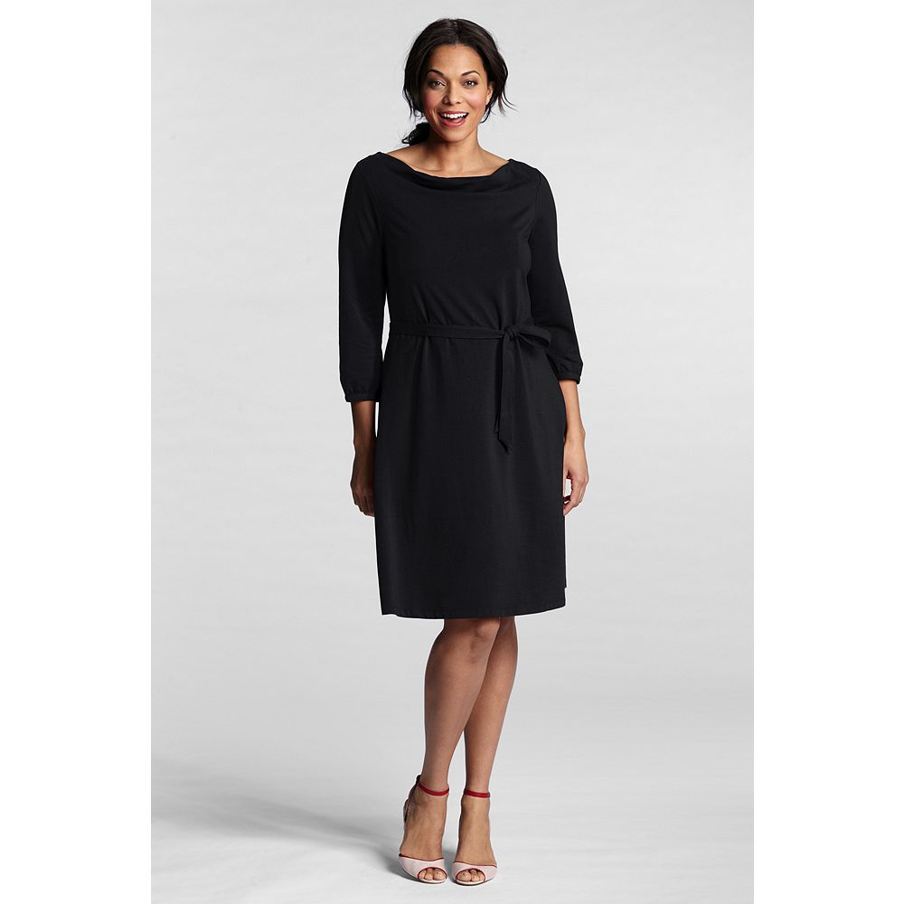 Lands' End Women's Plus Size 3/4-sleeve Cotton Modal Drapeneck Dress at Sears.com