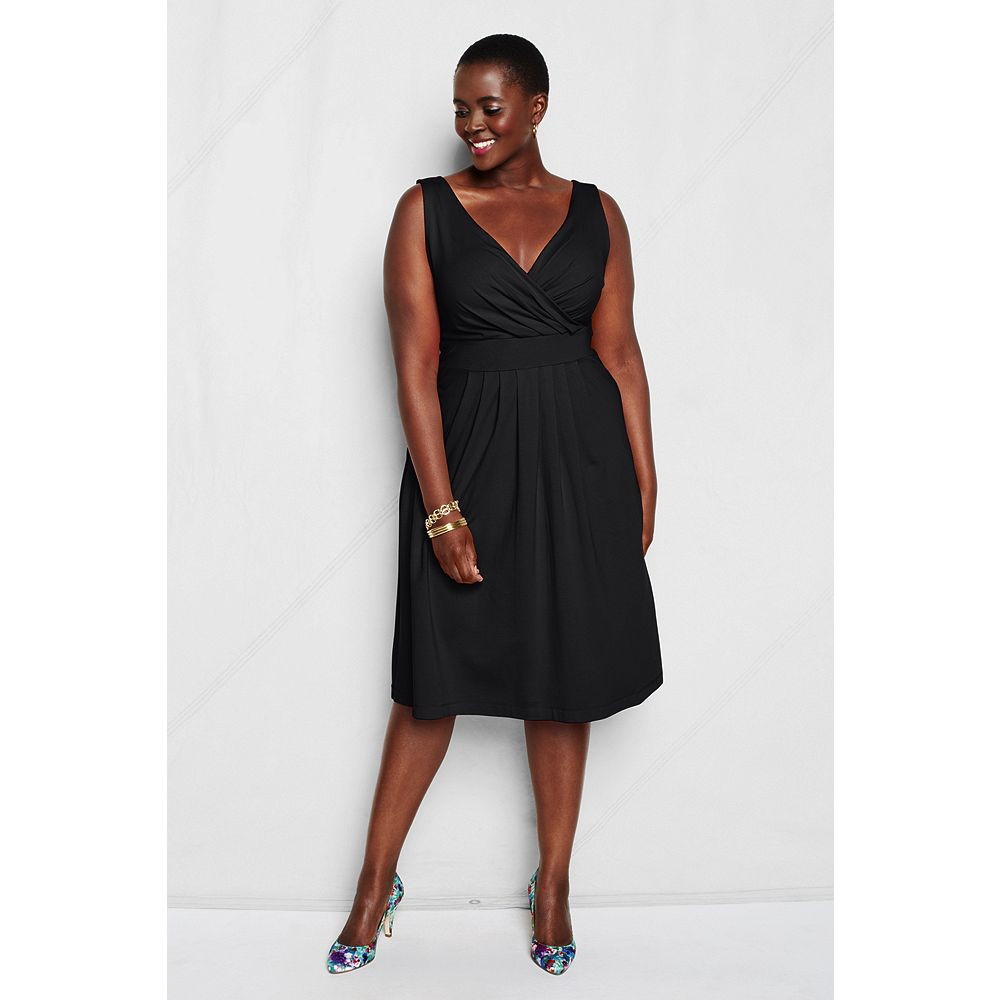 Lands' End Women's Plus Size Sleeveless Cotton Modal Fit and Flare Dress at Sears.com