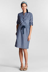Women's Roll Sleeve Chambray 2-pocket Henley Dress