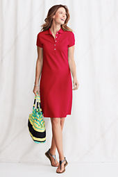 Women's Short Sleeve Solid Pique Polo Dress