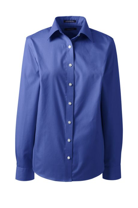 Women's Long Sleeve Straight Collar No Iron Broadcloth Shirt