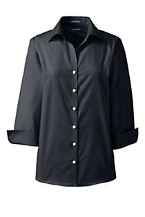 School Uniform Women's Petite 3/4 Sleeve No Iron Broadcloth Shirt, Front