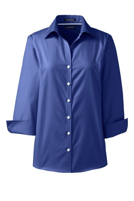 School Uniform Women's Petite 3/4 Sleeve No Iron Broadcloth Shirt