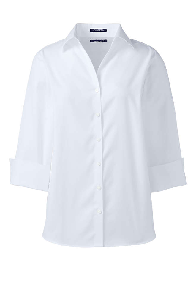 Women's Petite 3/4 Sleeve No Iron Broadcloth Shirt, Front