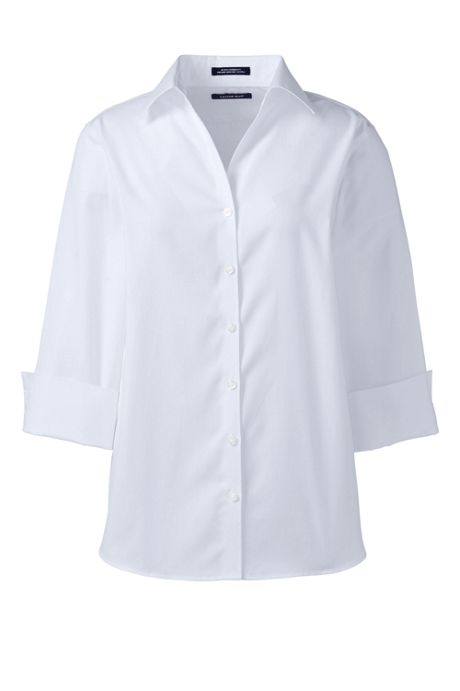 School Uniform Women's Tall 3/4 Sleeve No Iron Broadcloth Shirt