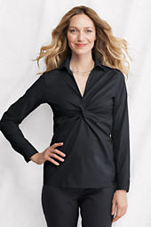 Women's Long Sleeve Twist Stretch Blouse