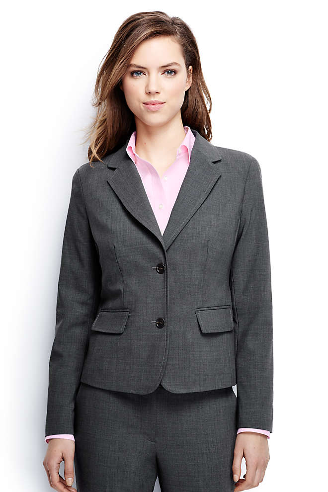 Women's Plus Size Two Button Washable Wool Blazer, Front