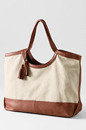 Women's Large Linen and Leather Tote