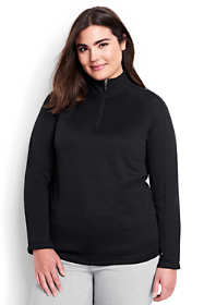School Uniform Women's Plus Size Long Sleeve Multi Textured Half Zip
