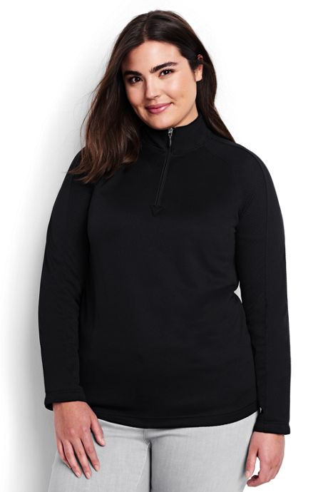 Women's Plus Size Long Sleeve Multi Textured Half Zip