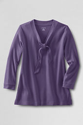 Women's 3/4-sleeve 60/40 Interlock Tie V-neck