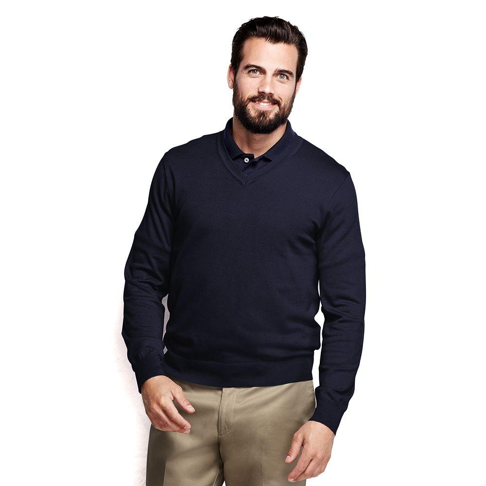 Lands' End School Uniform Mens Big & Tall Performance V-neck Sweater at Sears.com