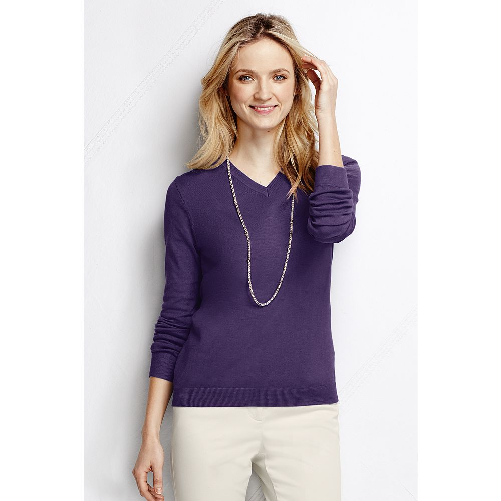Lands' End Women's Plus Size Performance Long Sleeve Fine Gauge V-neck Sweater at Sears.com