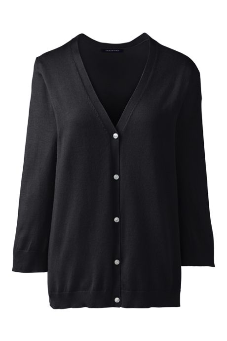Women's 3/4 Sleeve V-neck Performance Fine Gauge V-neck Button Front Cardigan Sweater