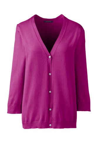 Womens 34 Sleeve Performance Cardigan Sweater From Lands End