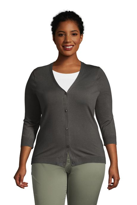 Women's Plus Size 3/4 Sleeve Performance Cardigan Sweater