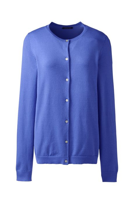 Women's Long Sleeve Performance Fine Gauge Button Front Crew Cardigan Sweater