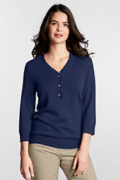 Women's 3/4-sleeve Performance Soft  V-neck Ruffle Pullover