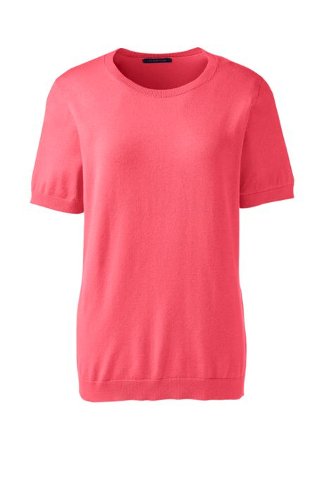 Women's Short Sleeve Performance Fine Gauge Jewelneck Sweater