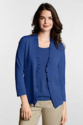 Women's 3/4-sleeve Performance Ruffle Front Cardigan