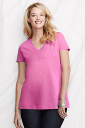 Women's Plus Size Short Sleeve Supima V-neck Tunic Tee