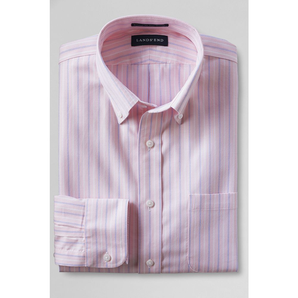 Lands' End Men's Tailored Fit No Iron Pattern Supima Oxford Dress Shirt at Sears.com