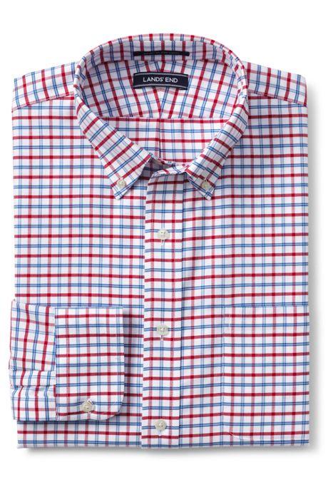 Men's Tall Traditional Fit Pattern No Iron Supima Oxford Dress Shirt