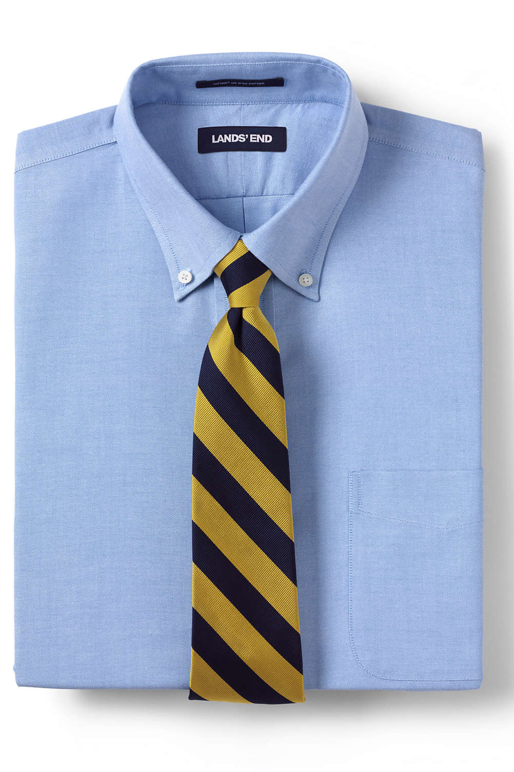 Mens Solid No Iron Supima Oxford Dress Shirt From Lands End